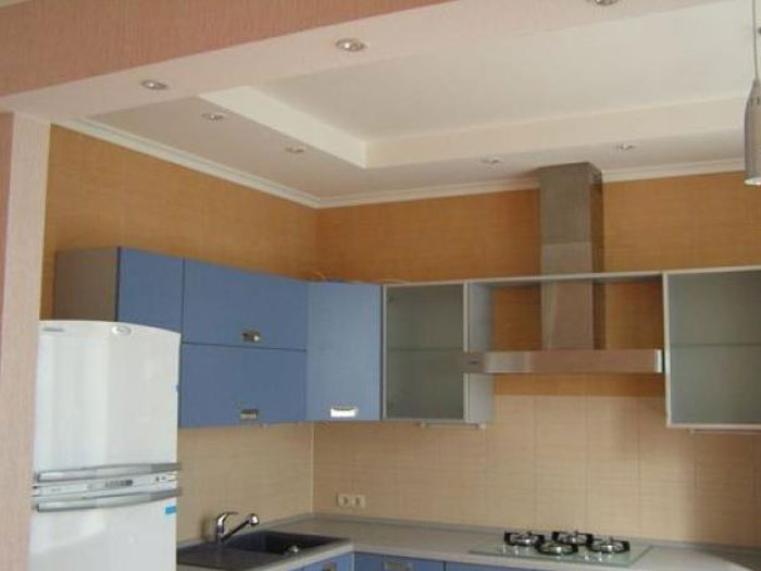 Потолок из гипсокартона кухня фото